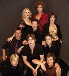 "The Gorgeous Cast of ""Queer as Folk"" *USA* - (Left to Right- from Bottom) Randy Harrison, Gale Harold, Peter Paige, with Scott Lowell right above him, Robert Gant, Hal Sparks, Michelle Clunie, Thea Gill, and the lovely Sharon Gless."