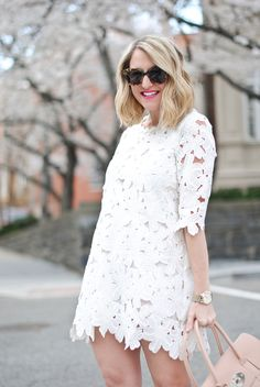 Full Flower Cut Crochet White Dress from chic wish Led Dress, Dress Skirt, Dresses For Pregnant Women, Clothes For Women, Cute Dresses, Dresses With Sleeves, White Outfits, African Dress, Pink Lace