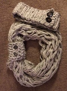Arm knit infinity scarf with matching button cuff and headband on Etsy, $35.00