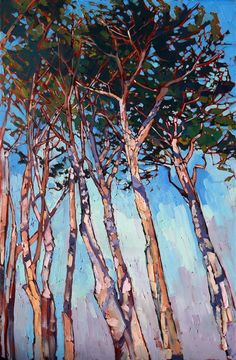 Cypress sky, Monterey inspired oil painting by Erin Hanson