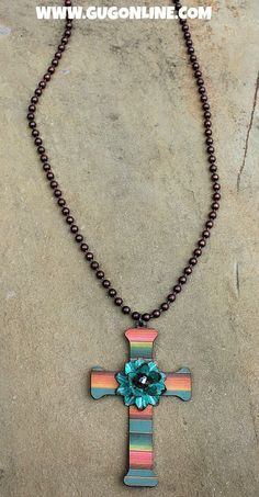Long Rust Chain Necklace with Serape Cross with Turquoise Flower