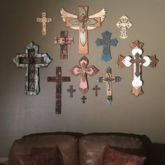 Wall Wood Cross - Large - Medium Brown Stain, Religious wording, with iron cross and star Cross Wall Collage, Cross Wall Art, Cross Wall Decor, Cross Walls, Wooden Crosses, Crosses Decor, Wall Crosses, Wooden Walls, Wall Wood
