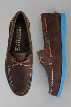 Neon's officially hit the gents. Sperry Top-Sider Neon Sole Boat Shoe