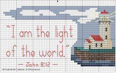 Free Bible verse cross stitch pattern. I am the light of the world