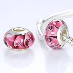 Fascinating Silver Plated Pink Murano Glass Beads Fit Pandora Bracelet & Necklace Bangle Authentic Accessories 1PCS A6302