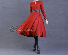 Red Long Wool Dress for Winter Long Dress WInter Dress for Women Winter Coat Dress Women Dress Coat Plus Size Custom Made. $115.00, via Etsy.