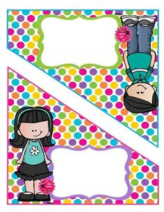 Tijera folder Polka Dot Classroom, Classroom Themes, 1st Day Of School, Pre School, Cubby Tags, School Frame, School Labels, School Clipart, Borders For Paper