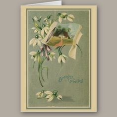 Vintage Birthday Card A very pretty vintage birthday card with lovely white flowers and a country scene. A delighful birthday card for any lady