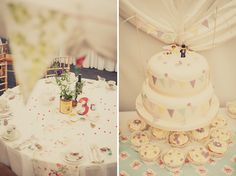 bunting wedding cake, image by Kari Bellamy Photography