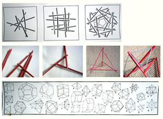 Tensegrity as organic geometric shapes full of notched sticks and rubberbands.