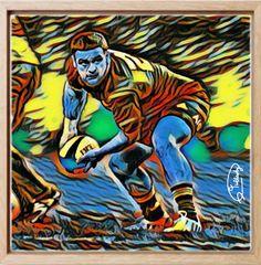Rugby Painting, 50x50 cm Acrylique & Posca sur toile montée sur châssis. Signée par l'artiste. Pièce unique. Acrylic & Posca on canvas mounted on a frame. Signed by the artist. Original piece. Original Artwork www.tullasky.com