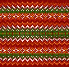 Red ornate zigzag stripes vector Christmas knit seamless pattern