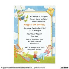 Park playground birthday invitation printable or printed with free playground picnic birthday invitation filmwisefo Gallery