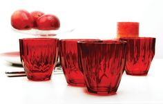 CIRCLEWARE RED DIAMOND 4-PIECE COLORED GLASS DOF - 11 OUNCE - $7.99