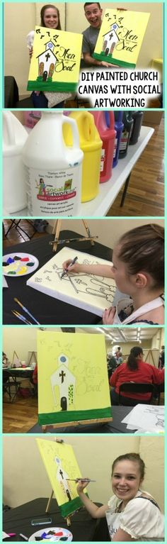 DIY Painted Church Canvas with Social Artworking -A Little Craft In Your Day This is a great craft for teens to do with their friends!