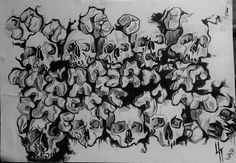This is a detailed drawing of a Collection of Skulls.  There was only one artist from the Queen Wasp Factory to whom drew this art piece.  The Collection of Skulls was made with the mediums: Pencil & Acrylic Paint. The size of this art piece is 30 cm x 42 cm (11 1/2 inch x 17 inch).  Please also see our other website: http://queenwaspfactory.wix.com/nest  If you have any questions regarding delivery outside the UK please message.