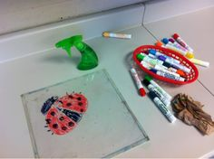 monoprint: plexi + washable markers. From Mrs. Jahnig's blog.