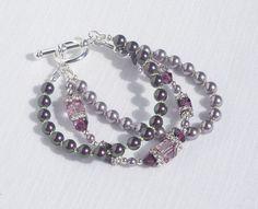 Swarovski purple pearl & crystal 3-strand bracelet by ParkhillDesigns on Etsy
