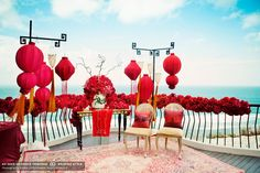 red and asian decor