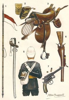 British; 17th Lancers Equipment, arms , Horse Furniture and rear view of a trooper, 1879