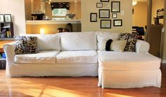 Furniture. Sophisticated White Sectional Sofa Cover With Brown ...