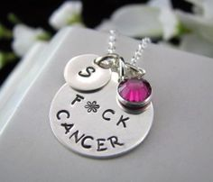 Sterling Silver Hand Stamped Fck Cancer by auctionprincess on Etsy, $48.00