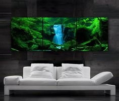 LARGE 20x 60 3 panels Art Canvas Print  Waterfall by BoxColors,