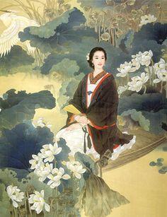 """荷花仕女""  Lotus Lady    (Artiests Yue Guo Jin & Wang Mei Fang)"