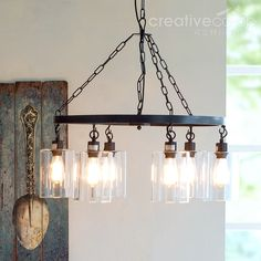 Distressed white wood beads chandelier creative co op home modern iron chandelier w glass shades creative co op home aloadofball Choice Image