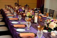 purple, black, orange tablescape