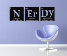 Periodic table of elements NERDY Vinyl wall decal  by RadRaspberry, $24.00