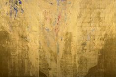 """Gallery: Gold - (5) -  Golden Fire II -  Mineral Pigments, Gold on Kumohada  89x132"""" Gold Leaf Art, Gold Art, Japanese Haiku, Japanese Artists, Illustrations, Asian Art, Abstract Art, Abstract Paintings, Ink"""