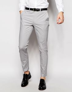ASOS Skinny Suit Trousers In Grey Poplin