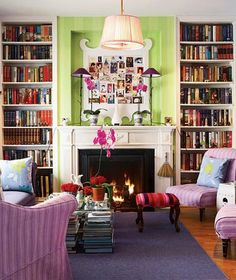 Fun, bright room.  Love the books as a coffee table base...but what to do when you'd like to read one?