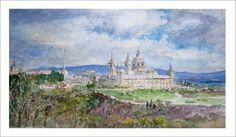 Cuadro en acuarela del Monasterio de San Lorenzo del Escorial. Contacto: ruben@rubendeluis.com Tel. 616 46 21 58