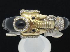 CINER Black Enamel Rhinestone Cabochon Elephant Bangle Bracelet
