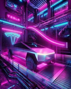 Cybertruck via Cyberpunk Nikola Tesla, Tesla S, Tesla Motors, Home Decoration Images, Cyberpunk City, Cyberpunk Fashion, Cyberpunk Aesthetic, Japanese Photography, Neon Photography