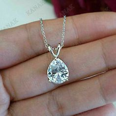Ct Pear Cut Diamond Solitaire Pendant With Chain White Gold Over Diamond Solitaire Earrings, Diamond Pendant Necklace, Diamond Necklaces, Selling Jewelry, Pear, Fine Jewelry, White Gold, Chain, Pendants