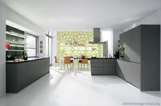 Kitchen, Large Modern Kitchen Combined With Dining Room Design With White Interior Color Decor Inspiring Ideas Plus Ceramic Floor Tiles And Grey Kitchen Cabinets With Wall Mounted Shelves For Glasses ~ 15 Inspiring Grey Kitchen Cabinet Design Ideas Modern Grey Kitchen, Grey Kitchen Designs, Gray And White Kitchen, Contemporary Kitchen Design, Grey Kitchens, Cool Kitchens, Modern Kitchens, Refacing Kitchen Cabinets, White Kitchen Cabinets