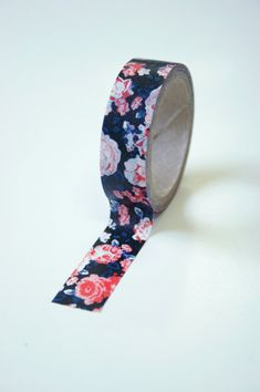 Washi Tape  15mm  Black with Red/Blue Vintage  by InTheClear, $3.05