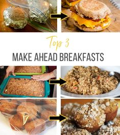 Top 3 Make Ahead Breakfasts (  Shopping List!) - We teach you how to prep and stock your freezer with 3 delicious breakfast recipes for busy mornings. #breakfast #makeahead #mealprep #freezermeals #freezercooking