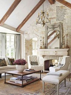 Incredible french country living room ideas (35) beautiful see through fireplace, rock wall