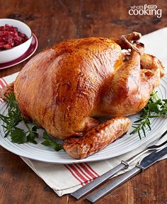 Savoury turkey at its finest, served alongside your favourite fixings. Mmm! Get the bird right and everything else beautifully falls into place. Try our easy #recipe for Garlic Herb-Brined Turkey and enjoy your holiday feast with family and friends.