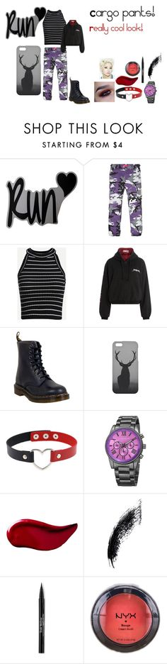 """""""For Scarlett (friend) - Scarlett's ideal wardrobe by me: #229: Cargo pants!"""" by sarah-m-smith ❤ liked on Polyvore featuring Vetements, Dr. Martens, Mr. Gugu & Miss Go, Akribos XXIV, Kat Von D, Trish McEvoy and NYX"""