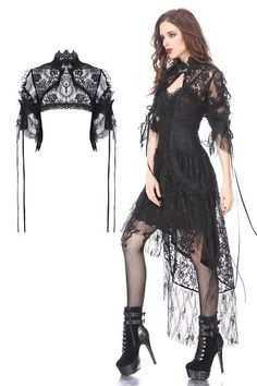 Gothic Jewelry Victorian Gothic lolita gorgeous lace cape with messy gauze short sleeves - Gothic hearted shaped capelet Gothic Mode, Gothic Lolita, Gothic Dress, Gothic Outfits, Dark Fashion, Gothic Fashion, Gold Fashion, Steampunk Fashion, Emo Fashion
