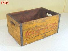 VINTAGE WOODEN COCA COLA COKE CRATE BOTTLE CARRIER YELLOW RARE PIECE SODA POP #CocaCola