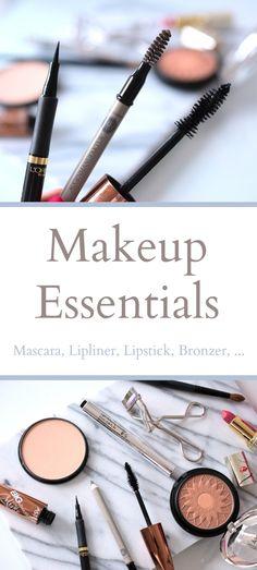 Das sind die wichtigsten Make Up Produkte für deine Basis-Ausstattung. Eyeliner, Mascara, Puder & Co. Mit diesen Produkten kannst du fast jeden Makeup Look zaubern. The most important makeup essentials for your makeup collection. Lipliner, mascara & Co.