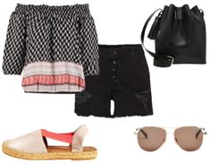 Off the shoulder printed top+black high waist denim shorts+nude and pink espadrilles+black bucket bag+aviator sunglasses. Summer outfit 2016