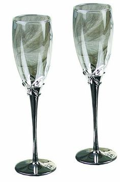 Ivy Lane Design Toasting Flutes with Stainless Steel Stems and Crystal Studded Bow