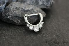 Silver Septum Clicker 16G  Crystal Septum Ring  by MyBodiArt
